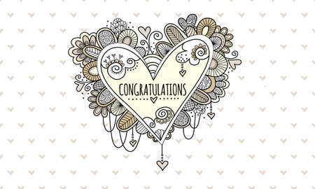 Congratulations Heart Hand Drawn doodle vector illustration with the word congratulations in the centre of a heart and surrounded by hearts, swirls, beads and abstract shapes for wedding or engagement.