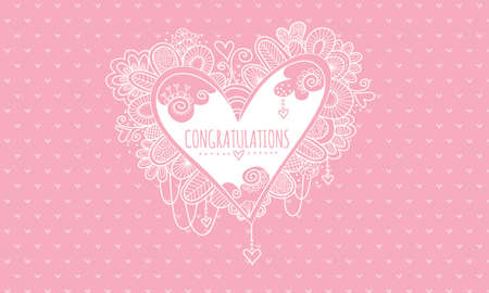 Congratulations Heart Hand Drawn doodle vector illustration with the word congratulations in the centre of a heart and surrounded by hearts, swirls, beads and abstract shapes for wedding or engagement on a pink background