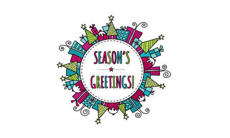 Seasons Greetings Bright Modern Christmas doodle vector illustration with the words seasons greetings in a circle surrounded by christmas trees, presents, puddings, and stars.