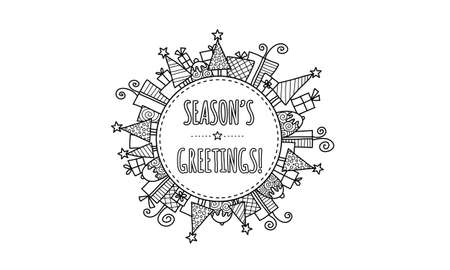 Seasons Greetings Modern Christmas doodle vector illustration with the words seasons greetings in a circle surrounded by christmas trees, presents, puddings, and stars. Illustration