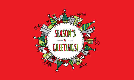 Seasons Greetings Bright Modern Christmas doodle vector illustration with the words seasons greetings in a circle surrounded by christmas trees, presents, puddings, and stars on red background