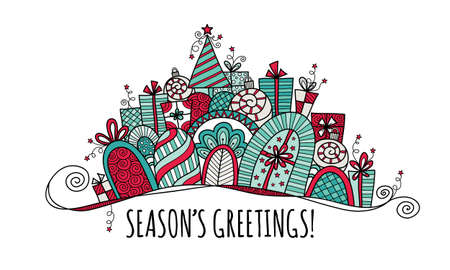 Seasons Greetings Christmas doodle vector illustration with the words seasons greetings under a banner of presents, baubles, a christmas tree, swirls and stars.