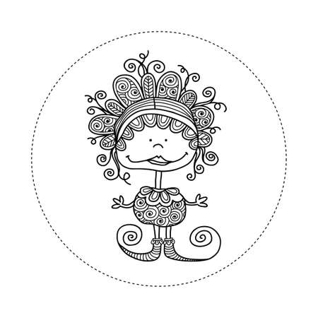 Cute and fun doodle doll  illustration with crazy curls, big smile, swirls, doodles and striped shoes