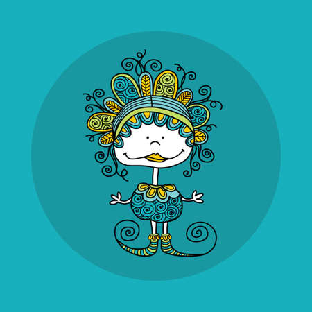 Cute and fun doodle doll vector illustration with crazy curls, big smile, swirls, doodles and striped shoes on jade green background Illustration