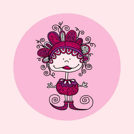 Cute and fun doodle doll  illustration with crazy curls, big smile, swirls, doodles and striped shoes on pink background