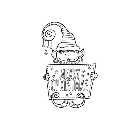 Cute christmas elf holding a sign with the words merry christmas and stars on a white background, vector illustration.