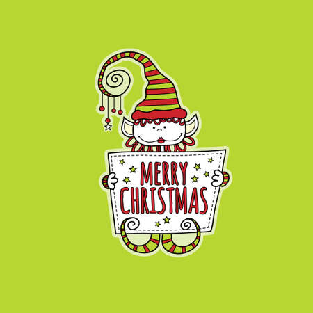 Cute christmas elf holding a sign with the words merry christmas and stars on a green background, vector illustration.