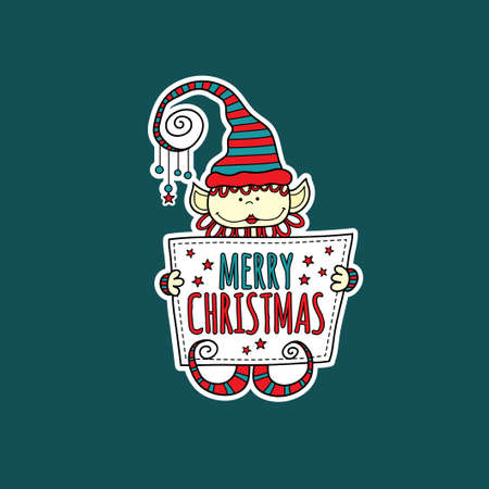 Cute christmas elf holding a sign with the words merry christmas and stars on a dark green background, vector illustration.