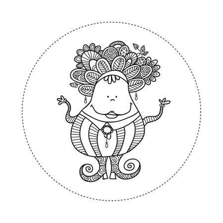 Cute and fun doodle doll vector illustration with crazy hair, big smile, jewels, swirls, stripes, doodles and big curly shoes.