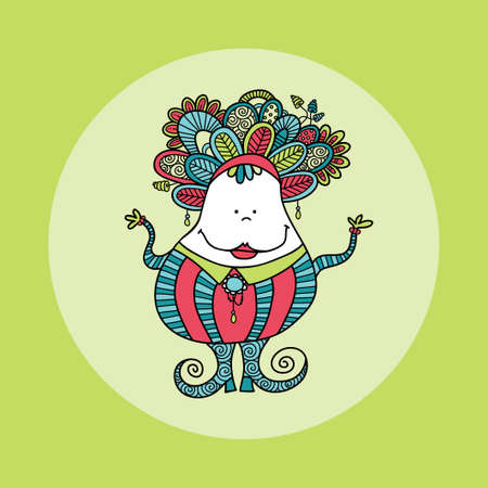 Cute and fun doodle doll vector illustration with crazy hair, big smile, jewels, swirls, stripes, doodles and big curly shoes on a green background
