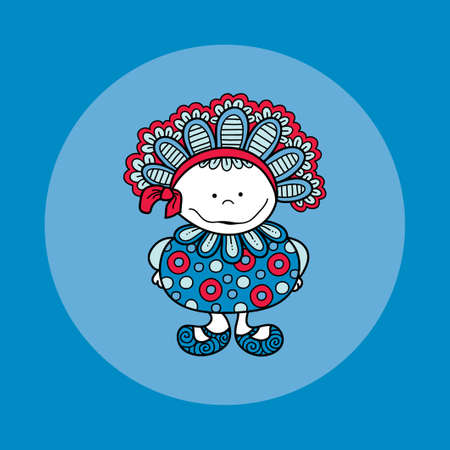 Cute and fun doodle doll vector illustration with big bonnet, bow, big smile, frills, circles and cute shoes on blue background