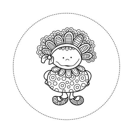 Cute and fun doodle doll vector illustration with big bonnet, bow, big smile, frills, circles and cute shoes