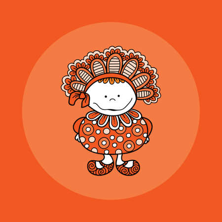 Cute and fun doodle doll vector illustration with big bonnet, bow, big smile, frills, circles and cute shoes on orange background