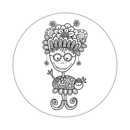 Zany doodle doll vector illustration with flowers, crazy hat, big smile, freckles, glasses, handbag, earrings, swirls and curly shoes Illusztráció