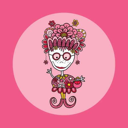 Zany doodle doll vector illustration with flowers, crazy hat, big smile, freckles, glasses, handbag, earrings, swirls and curly shoes on pink background Illusztráció