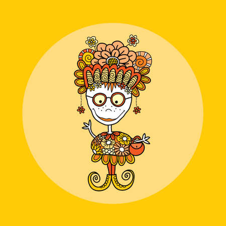 Zany doodle doll vector illustration with flowers, crazy hat, big smile, freckles, glasses, handbag, earrings, swirls and curly shoes on yellow background