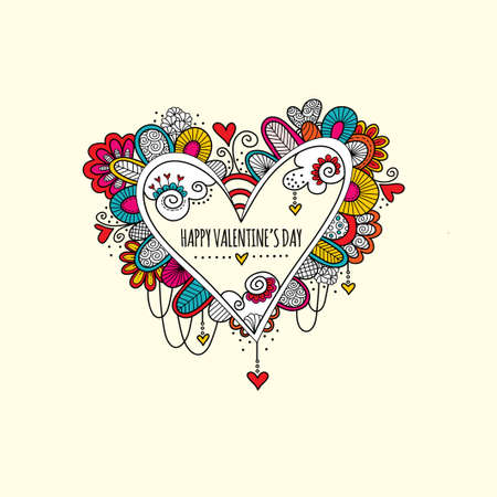 Colorful love heart doodle illustration with hearts, swirls and abstract shapes and the words happy valentines day. Illusztráció
