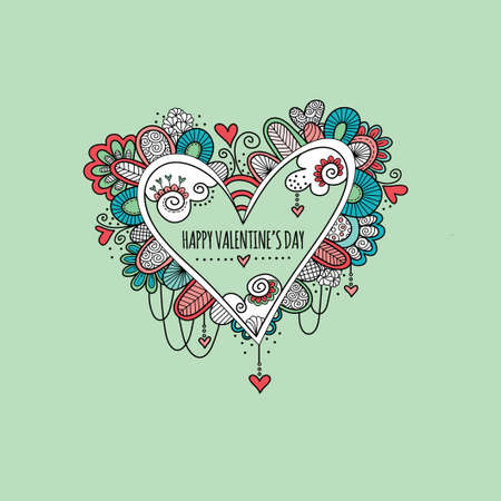 Colorful love heart doodle illustration with hearts, swirls and abstract shapes and the words happy valentines day. Illustration