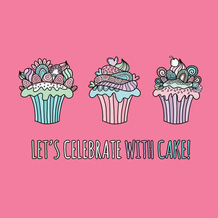 Cute cup cake doodle vector illustration with icing, hearts, swirls, decorations and abstract shapes Illustration