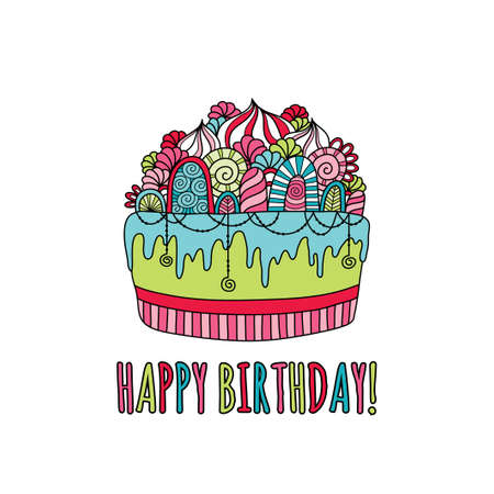 Birthday cake doodle vector illustration with the words happy birthday underneath a cake with icing, swirls, cream and decorations on coloured background.