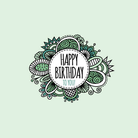 Happy birthday to you in a circle surrounded by abstract shapes and swirls in a bright vector illustration