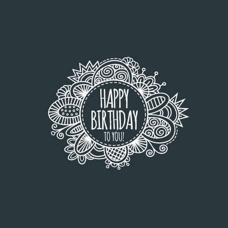 Happy birthday to you in a circle surrounded by abstract shapes and swirls in a vector illustration