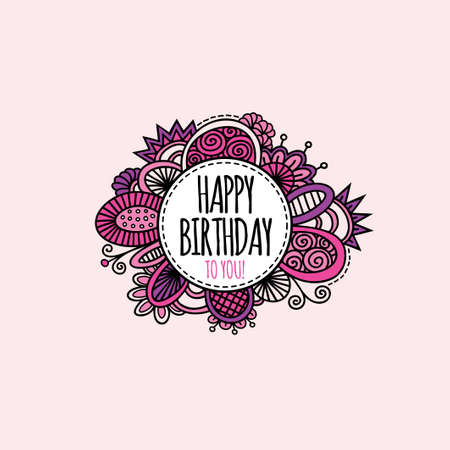 Happy birthday to you in a circle surrounded by abstract shapes and swirls in a bright coloured vector illustration