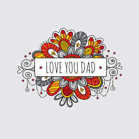 Love you dad fathers day banner vector illustration with swirls, stars, and hearts Illusztráció