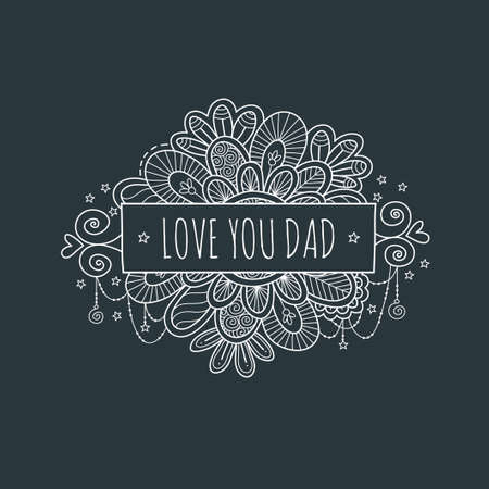 Love you dad fathers day banner vector illustration with swirls, stars, and hearts Illustration
