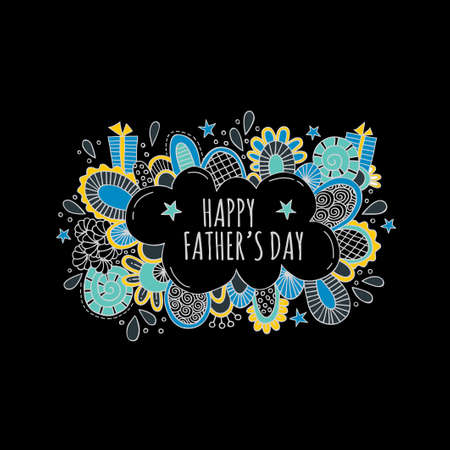 Happy Fathers Day bright vector illustration with presents, stars, shapes and swirls on a black background. Illustration