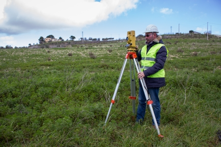 electronic survey: engineer with theodolite