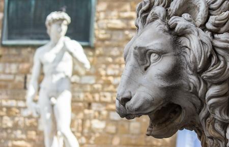 disrepair: Florence, Lion of the Loggia dei Lanzi or the Signoria Stock Photo
