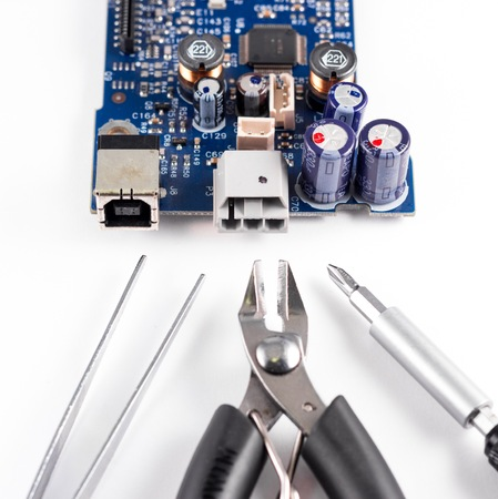 wire cutters: electronic circuit broken and repair tools, pliers, wire cutters and screwdrivers