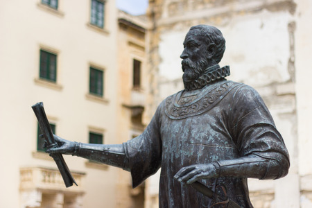 nobleman: the bronze statue is the founder of the city of Valletta