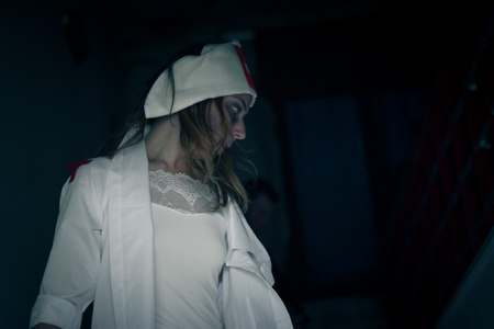 bloodied: nurse infected by virus zombies, pretty but dangerous