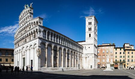 or san michele: Catholic place of worship of Lucca, which is located in Piazza San Michele. Stock Photo