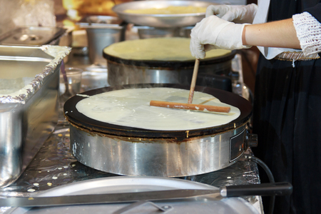 the crepes is a type of wafer soft and elastic baked on a round plate