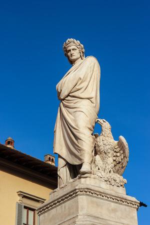 dante alighieri: Statue of Dante Alighieri in the Plaza Santa Croce in Florence