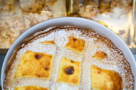the tart is a typical Italian sweet, covered shortbread dough with jam, cream or fresh fruit