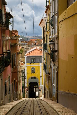 considerable: The funicular in Lisbon, would eliminate the considerable differences in height citizens Stock Photo