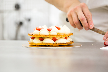 the millefeuille cake with custard and fresh strawberries
