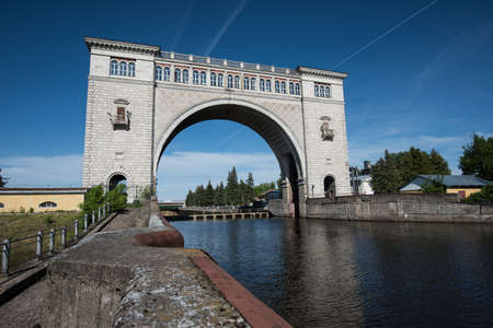 hydroelectric power station: Uglich, Yaroslavl region - June 1, 2015: The Gateway to the Uglich hydroelectric power station.