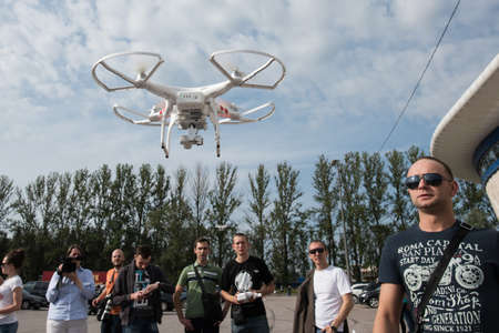 drones: St. Petersburg, Russia - July 18, 2015: Training Course on management training drones DJI Editorial