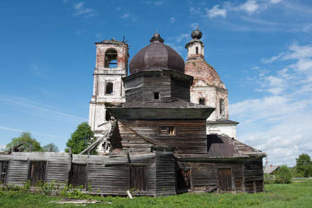 ravage: Vologda region, Russia - May 24, 2015: Temple complex. Church of the Holy Cross and the Assumption of Mary Editorial