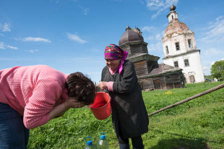 sump: Vologda region, Russia - May 24, 2015: Temple complex. Church of the Holy Cross and the Assumption of Mary Editorial