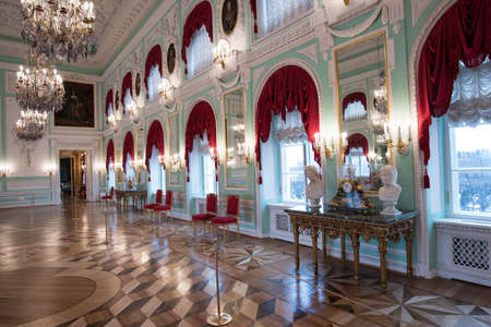 St. Petersburg, Russia - February 12, 2015: The Grand Palace in Peterhof, the Throne Room