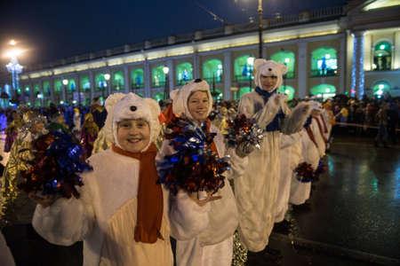 clauses: St. Petersburg, Russia - December 22, 2014: Santa Clauses march along Nevsky Prospekt