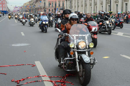 nevsky prospect: St. Petersburg, Russia - May 26, 2012: The annual celebration of the birth of the city. Carnival of bikers who  rode across the whole  Nevsky Prospect