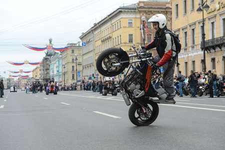 prospect: St. Petersburg, Russia - May 26, 2012: The annual celebration of the birth of the city. Carnival of bikers who  rode across the whole  Nevsky Prospect