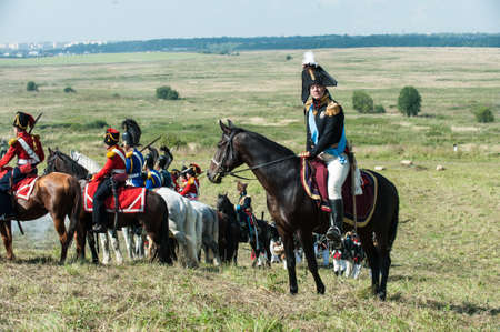 historical battle: St. Petersburg, Russia - August 26: Military historical reconstruction of the War of 1812. Battle Russian and French armies at Borodino, the Battle of Moscow river.